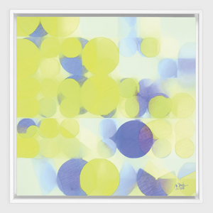 Lemon Purple Circles White Framed Canvas Wrap