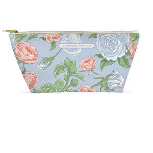 Peony & Rose Light Blue Accessory/ Makeup Pouch 8.5x4.5