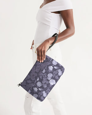 Peony Mono-Purple Faux Leather Daily Zip Pouch
