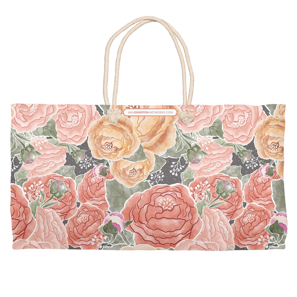Peony Watercolor on Grey Weekender Rope Tote