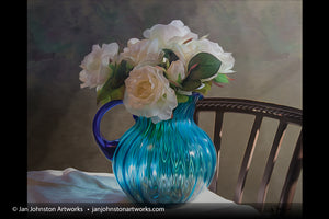 Blue Vase and White Roses Print