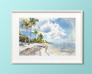 Down the Beach - Little Cayman Print