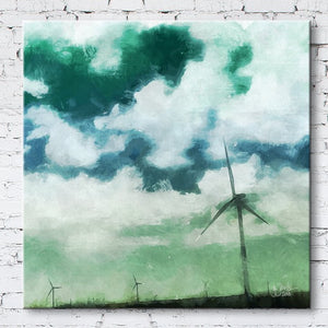 Green Clouds Texas Windmill