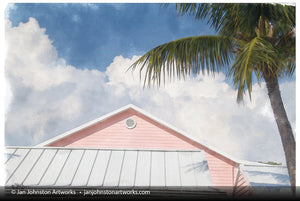 Little Cayman Pink Building Print