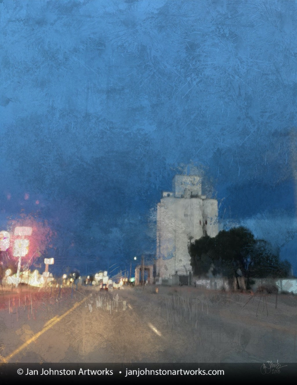 Night Rain in a Small Town