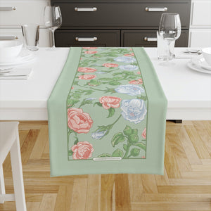 Peony & Rose Light Green Table Runners