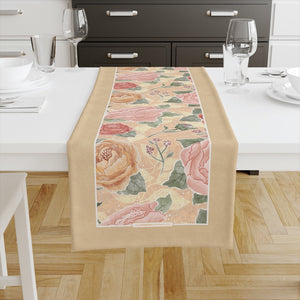 Peony Watercolor on Yellow Table Runner