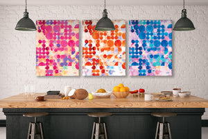 Blue, Orange & Pink Terra Firma Canvas Wraps