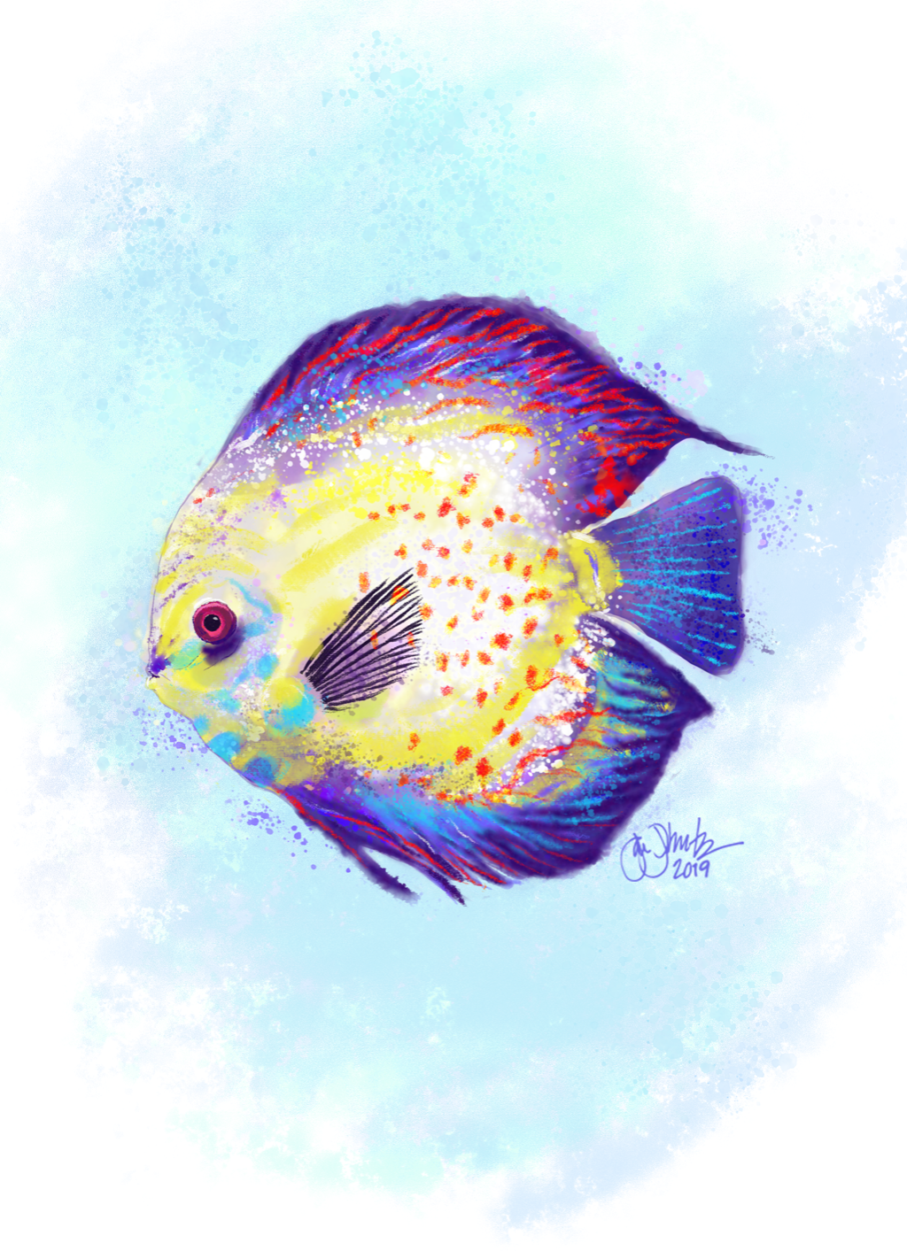 Tropical Fish Watercolor 1 - New