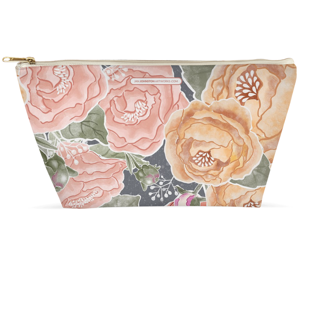 Peony Watercolor Grey Accessory Pouches