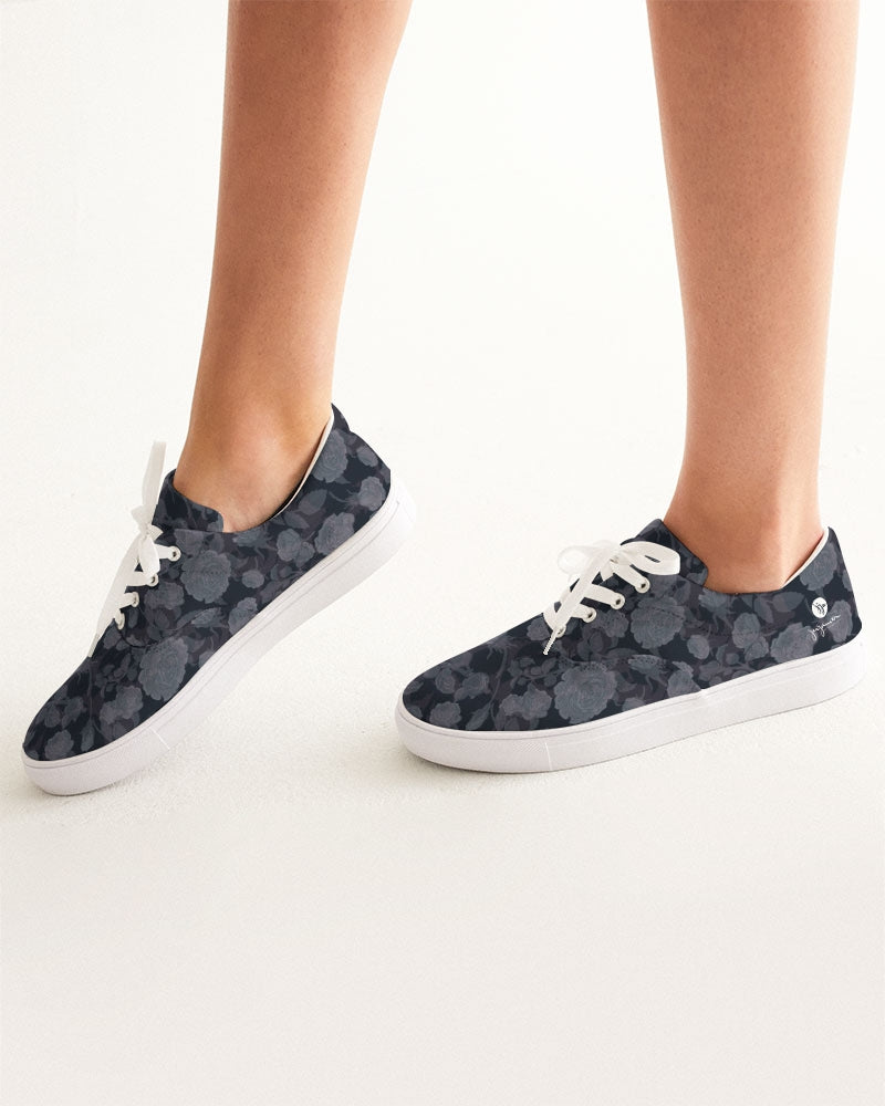 Dark Rose Ghosted Double Pattern Women's Lace Up Canvas Shoe
