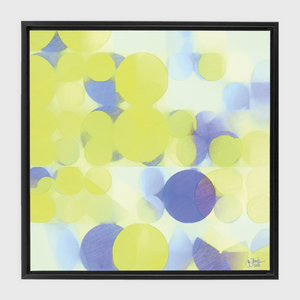 Lemon Purple Circles Black Framed Canvas Wrap