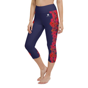 Poppies on Dark Blue Yoga Capri Leggings