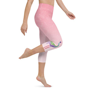 Pink Ombre Flamingos Yoga Capri Leggings