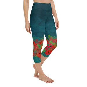 Poppies on Dark Teal Yoga Capri Leggings
