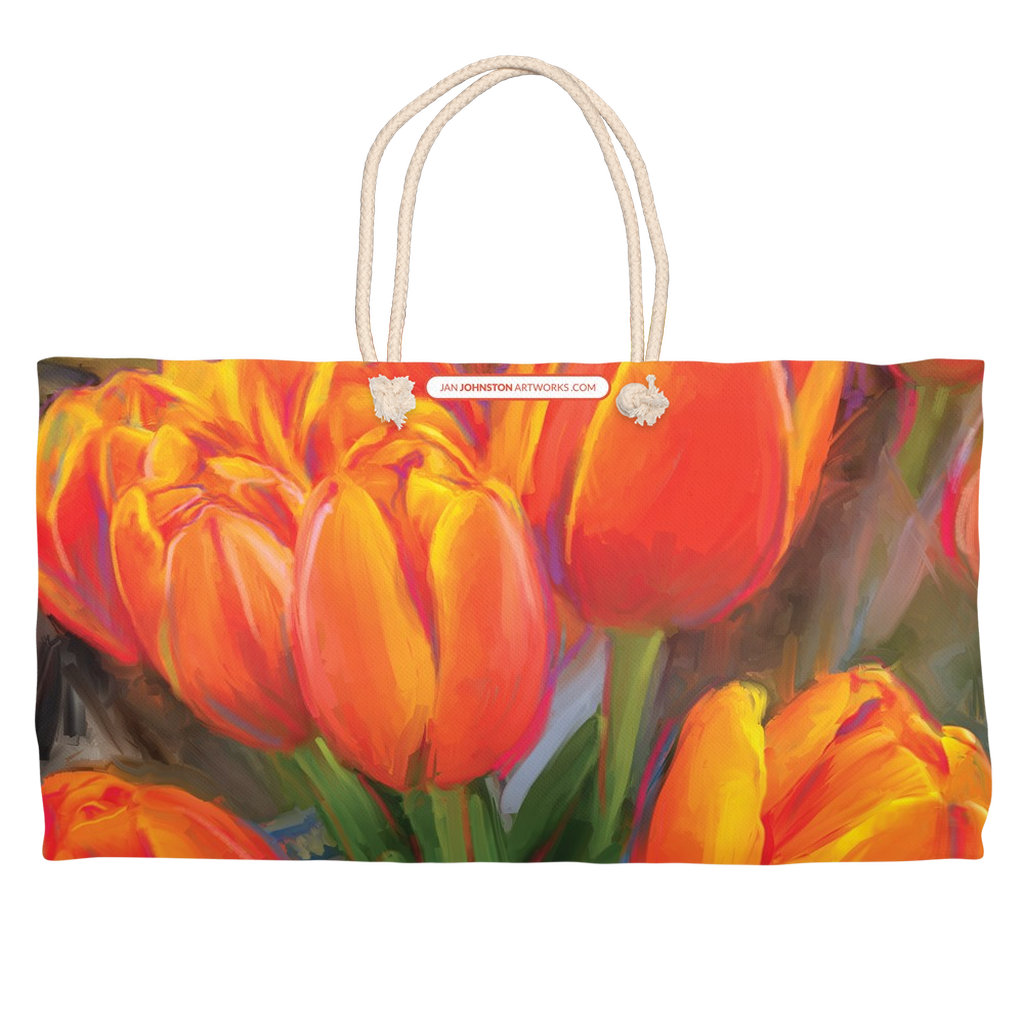 Orange Tulip Bunch Weekender Totes