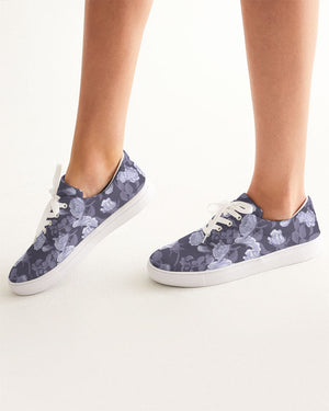 Peony and Roses Mono-Purple Design Women's Lace Up Canvas Shoe