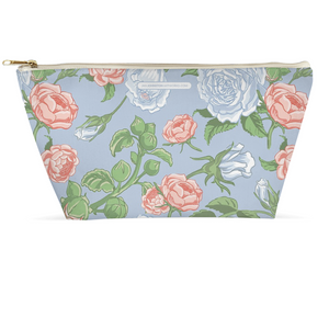 Peony & Rose Light Blue Accessory/ Makeup Pouch 12.5x7