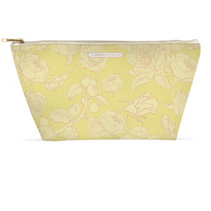 Yellow Peony & Rose Line Accessory Pouches
