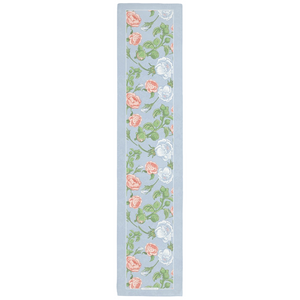 Peony & Rose on Light Blue Table Runners