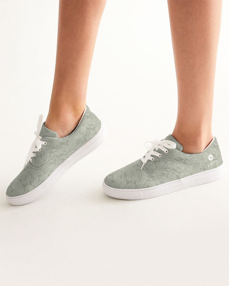 Sage Bunched Floral Line Lace up - Canvas Shoes