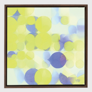 Lemon Purple Circles Oak Framed Canvas Wrap