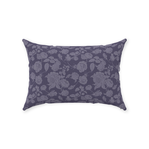 Rose Line Dark Purple Throw Pillow 14x20