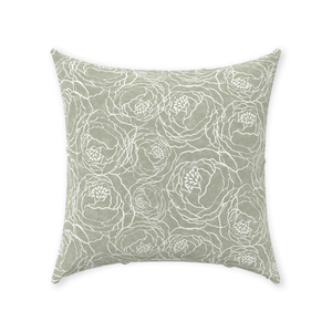 Sage Peony Line Throw Pillows