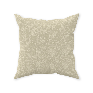 Sand Floral Lines Throw Pillows