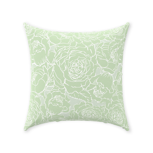 Light Green Floral Lines Throw Pillow