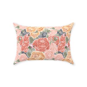Peony Watercolor on Grey Throw Pillow 14x20