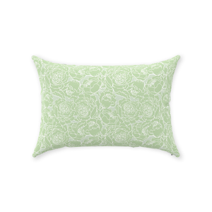 Light Green Floral Lines Throw Pillow 14x20
