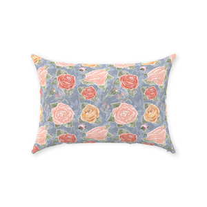 Peony Watercolor Grey Row Throw Pillow 14x20