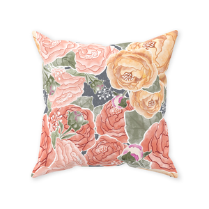 Peony Watercolor on Grey Throw Pillow