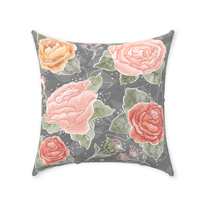 Grey Peony Watercolor Row Throw Pillows