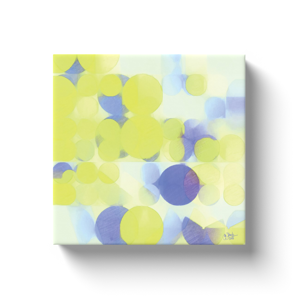 Lemon Purple Circles Canvas Wrap