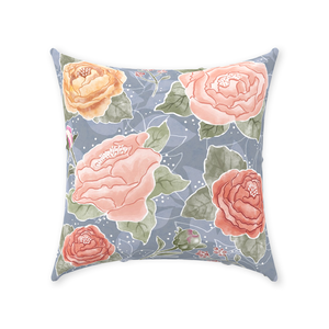 Peony Watercolor Grey Row Throw Pillow