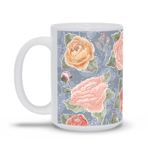 Peony Watercolor on Grey Mug