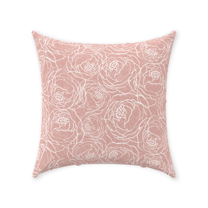 Pink Peony Line Throw Pillows
