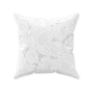 Light Grey Floral Lines Throw Pillow
