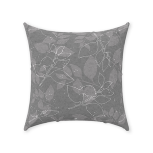 Grey Leaves Throw Pillows