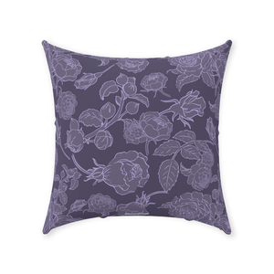 Rose Line Dark Purple Throw Pillow