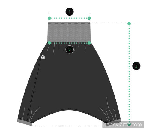 Lenny Aladdin measurements diagram. When using the size chart, compare to this image. The waist measurement is the very top edge of the fabric. The second waist measurement is from the bottom edge of the elastic waistband just as the fabric changes. The third measurement is the total length from the very top edge of the waistband to the bottom of the cuffs for the feet.