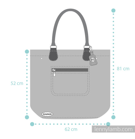 Lenny Lamb My Universe Large Handbag dimensions. Full height including handles: 81cm / 32in. Height of bag (not including handles): 52cm / 20.5in. Width of bag 62cm / 24.5in.