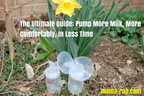 Spectra bottles with flanges outside under a daffodil. Text: The Ultimate Guide: Pump More Milk, More Comfortably, in Less Time. mama-roo.com. KW: Spectra breast pumps. maymom flanges, how to find the right flange size