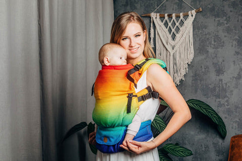 Lenny Upgrade horizontal full view Rainbow Baby soft structured baby carrier