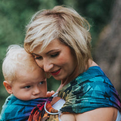 example of gathered shoulder on a ring sling, Lenny Lamb Swallows Rainbow Dark print