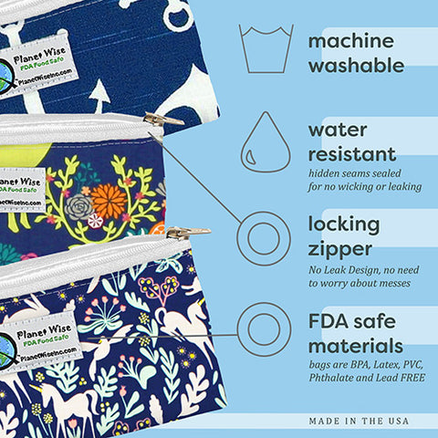 Machine Washable, water resistant, locking zipper, FDA safe materials. Planetwise zipper snack bags