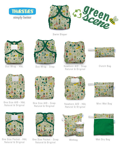Thirsties Green Scene line-up available items