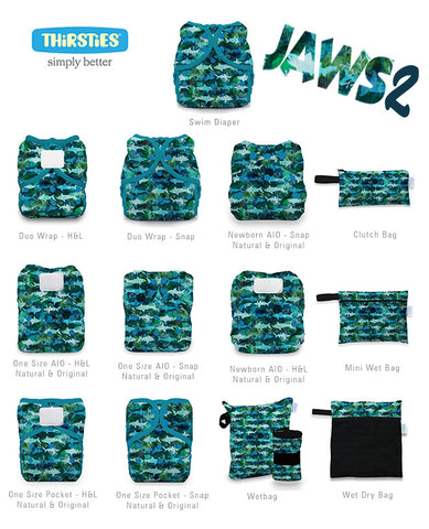 Jaws 2 print chart. Jaws 2 is a Thirsties limited edition print available in cloth diapers, wet bags, and swim diapers. It has blue and green sharks on a blue-green watercolor background with blue-green trim